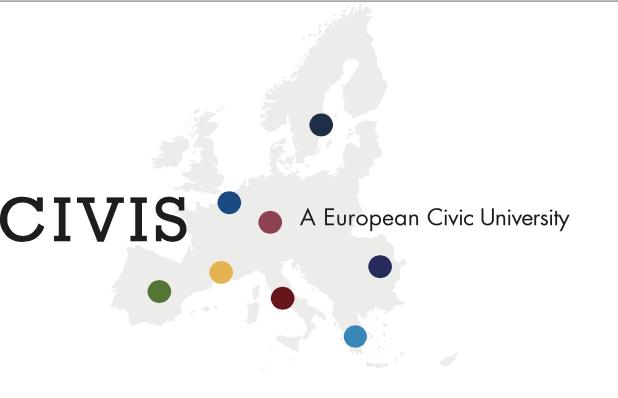 Logo von der EUA CIVIS. Eine Europa Karte mit bunten Punkten die die Städte markieren